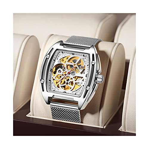 EPHNDX Reloj mecánico mecánico Impermeable de Ocio Funcional Reloj de Acero Inoxidable de Acero Inoxidable de Acero Inoxidable de Acero Inoxidable (Color : Silver)