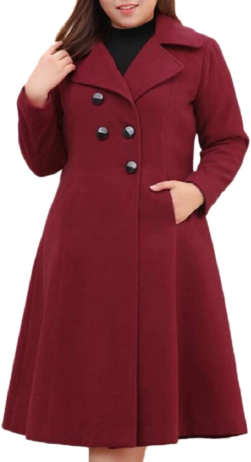 TymhgtCA Womens PlusSize Wool Blended Jacket DoubleBreasted Long Pea Coat