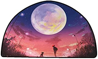 Floor Mat Home Decoration Supplies Fantasy,Young Woman with A Dog Under Huge Moon Starry Sky Celestial Magical Friendship Art,Navy Coral,W35 x L24 Half Round Outdoor Rugs