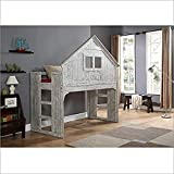 Donco Kids Club House Tall Loft Bed, Twin, Brushed Driftwood