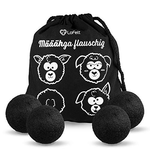 LoFelt® Trocknerbälle für Wäschetrockner - Dryer Balls - Natürlicher Weichspüler - Plastikfreie Produkte - 100% Schafswolle - 4 Stück in schwarz
