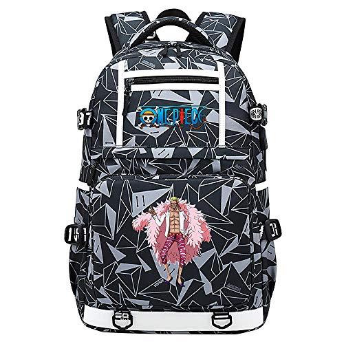ZZGOO-LL Color One Piece Luffy/Roronoa Zoro/Portgas·D· Ace Mochila de Anime Mochila de Escuela Secundaria para Estudiantes para Mujeres/Hombres con USB Starry Sky-F