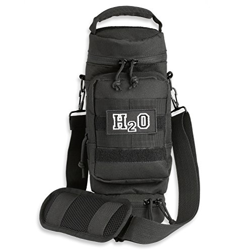 Orca Tactical Military MOLLE H2O Water Bottle Pouch Hydration Carrier (Black)