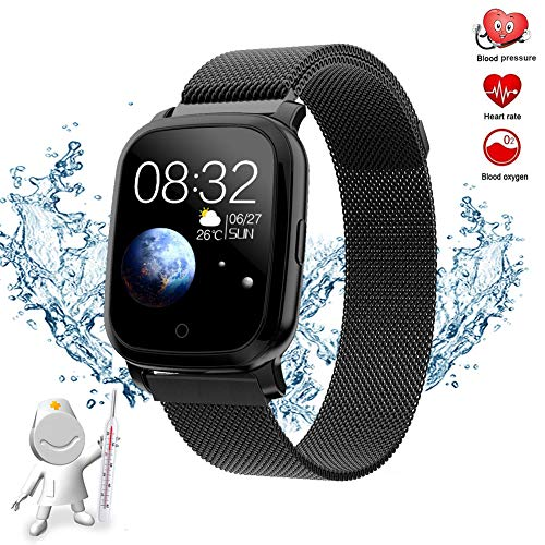 GWSPORT Temperature Fitness Tracker, Monitores De Actividad Bracelet Heart Rate Monitor Sports Touch Screen, Smart Watch para Android iOS Hombre O Mujer,Negro