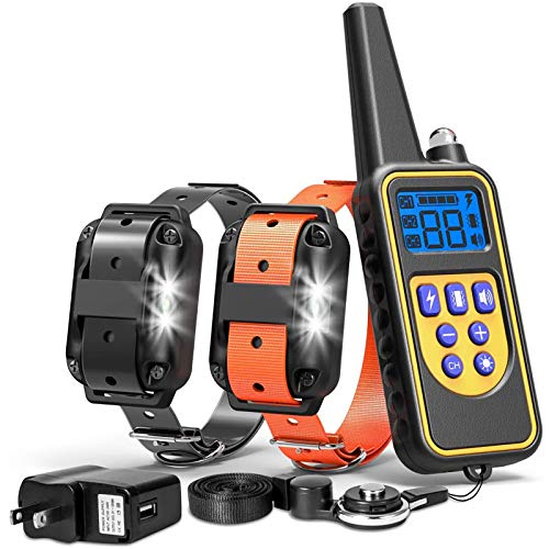 FunniPets Dog Training Collar, Waterproof Dog Shock Collar with Remote 2600ft Control Range E Collar for 2 Dogs with 4 Training Modes Light Shock Vibration Beep for Medium and Large Breed Dogs