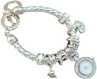 PULABO - PULABO - Reloj de pulsera trenzado con diseño de corazón y diamantes de imitación, cómodo y respetuoso del medio ambiente