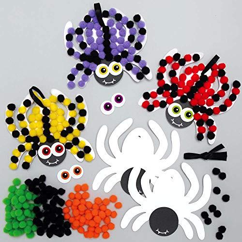 Baker Ross AX261 Spider Pom Pom Magnet Kits - Pack of 5, Halloween Themed...