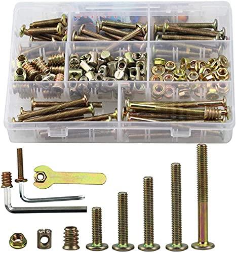 150 tornillos de cabeza plana M6, 40 mm/50 mm/60 mm/70 mm/80 mm, M6, para muebles, camas y sillas
