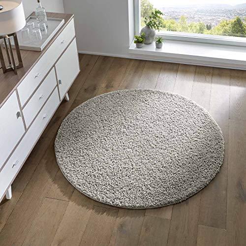 Taracarpet Shaggy Teppich Wohnzimmer Schlafzimmer Kinderzimmer Hochflor Langflor Teppiche modern grau 200x200 cm rund