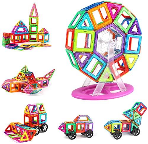 Blocchi Magnetici Costruzioni con ruote 100 Pezzi Costruzioni per Bambini Giocattoli Magnetici Costruzioni con Custodia Il Miglior Regalo per Ragazzi e Ragazze dai 3 4 5 6 7 8 9 Anni, Colorato