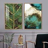 DCLZYF Moderno Abstracto Hoja árbol Anillos Arte de la Pared Cartel Verde Dorado Planta Textura Lienzo impresión Pintura Sala de Estar decoración del hogar-40x60cmx2 (sin Marco)