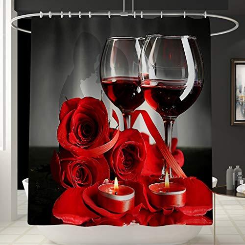 Ollt Impermeable a Prueba de Moho Baño de baño Engrosado 3D Cortina de Ducha de Vidrio de Vino Tinto Diseño Decoración de baño 200x240cm Rojo