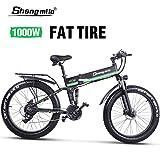 Shengmilo Bicicleta Eléctrica Plegable, Bicicleta de Montaña de 26 Pulgadas, Nieve en la Montaña, Batería de Litio de 48V / 13Ah incluida, Dos Baterías Incluidas (Verde)
