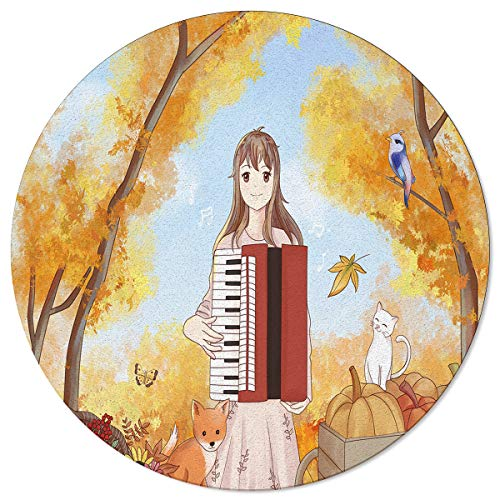 Meet 1998 Round Area Rugs Cartoon Style Girl Playing The Accordion Autumn Non-Slip Home Decor Indoor Children Playroom Kitchen Bedroom Living Floor Mats 4ft(48in)