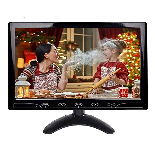 10.1 inch HD CCTV Monitor Small LCD Monitors Screen with HDMI/VGA/AV Port for DVR/PC/DVD/Home Office Surveillance Secure System,with Built-in Speaker