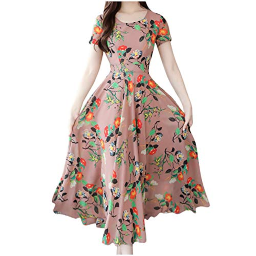 Charku レディース スカート 女性のためのドレス花柄プリントVネック半袖ボヘミアン夏カジュアルショートスカートビーチパーティー用 女性のドレス夏 花緩いカジュアルレディースセクシーなVネックビーチスカート