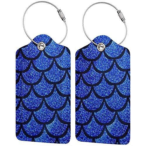 Bolsa de viaje de cuero impermeable etiquetas de identificación etiquetas de identificación para maletas con lazo de acero inoxidable para bolsas y equipaje, básculas de sirena azul marino