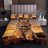Tiger Trapuntato Copriletto 3D Tigre Trapuntato TramontoAdolescenti Animale Selvaggio Modello Coverlet Set Safari Cat Trapuntato 3 Pz Matrimoniale