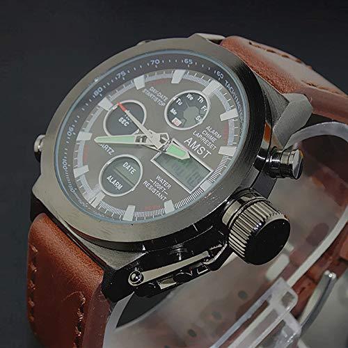 Fenkoo Militär-Armbanduhr (LED/Kalender/Herrenuhr mit Chronograph/Wasserbeständigkeit) Analog-Digital Quarz Reisewecker