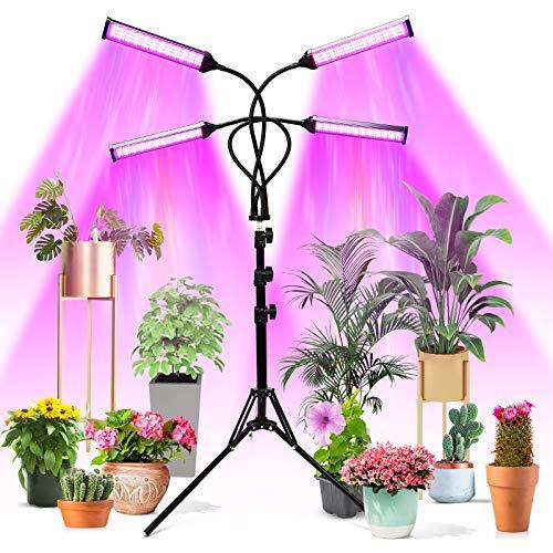 Pflanzenlampe LED, 4 Heads 420 LEDs 144W Wachstumslampe Vollspektrum, Zeitschaltuhr (4/8/12h), AUTO-ON/OFF, LED Grow Lampe Pflanzenleuchte, Verstellbarem Stativ (11-63 zoll), 10 Lichtstärken Warmfunn