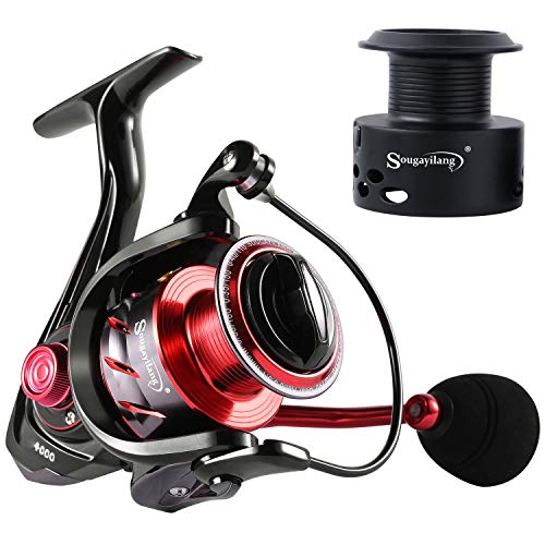 Sougayilang Fishing Reel Ultra Smooth Powerful,13+1BB Spinning Reel,Lightweight Graphite Frame, CNC Aluminum Spool for Freshwater(red 2000)