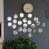 12 Pcs Miroir Acrylique Stickers Muraux Miroirs Amovible Sticker Géométriques Hexagone Décalque Autocollant Mural pour Maison Chambre Salon Décor
