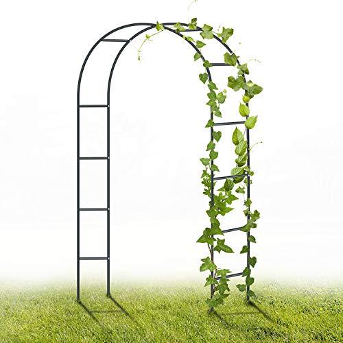 YAOBLUESEA Gartenbogen aus Metall, 2,4M Garten-Torbogen Pulverbeschichteter Stahlrahmen für Pflanzen zur Unterstützung von Rosen, die Torbogen-Gartendekoration (Schwarz)