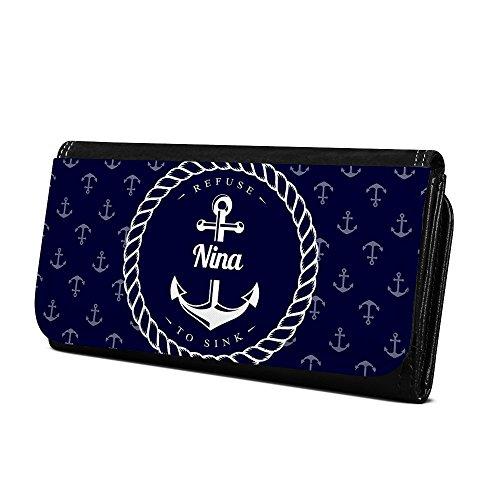 Geldbörse mit Namen Nina - Design Anker - Brieftasche, Geldbeutel, Portemonnaie, personalisiert für Damen und Herren