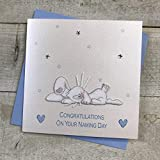 WHITE COTTON CARDS-Album portafoto con Ricamo Coniglietto, Colore: Blu, Congratulations On Your Naming Day, Fatto a Mano per Battesimo