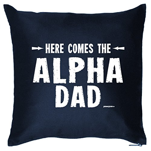 Kissen Sitzkissen 40x40 mit Motiv zum Vatertag - Here comes the Alpha Dad - Geschenk für den Vater
