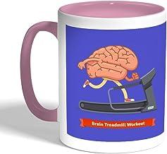 brain treadmill workout Printed Coffee Mug, Pink Color