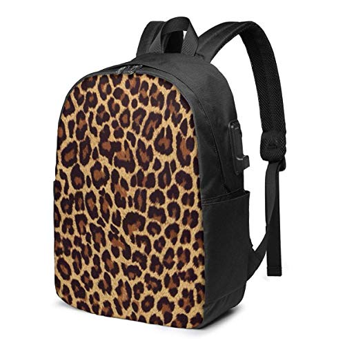 Leopard Print Laptop Backpack Durable Laptops Backpack with USB Charging Port College School Computer Bag and Notebook Black