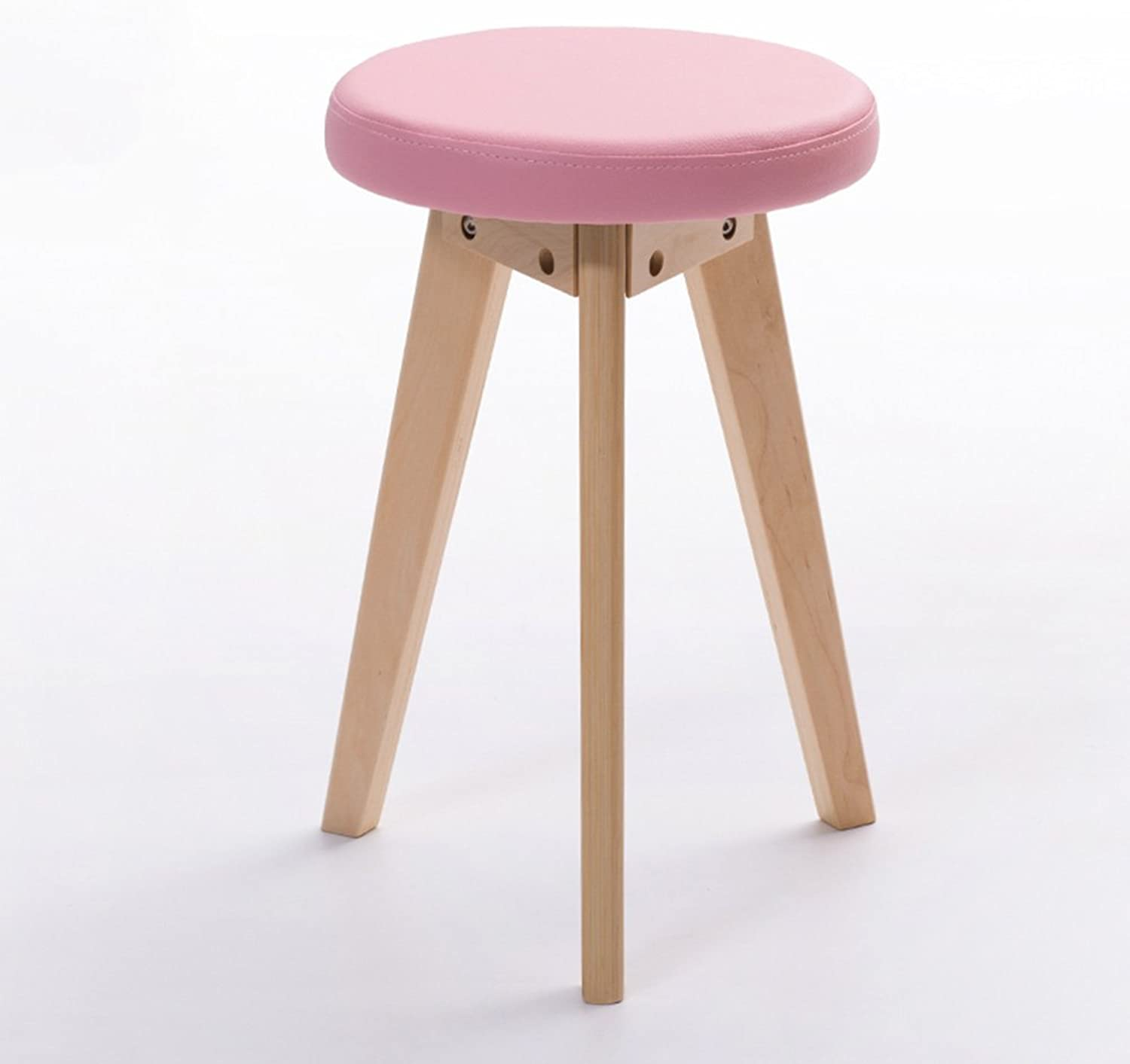 MEIDUO Chairs Housewares Rubberwood Round Stool PVC Cushion Dressing Stool in 5 colors (color   Pink, Size   A)