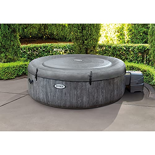 Intex 28439E Greywood Deluxe 4 Person Outdoor Portable Inflatable Hot Tub Spa with Multi-Color LED Light, Foam Headrests, and 140 Bubble Jets, Gray