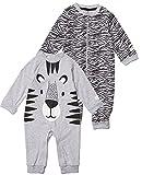 Tiny One Baby Strampler im 2er Set | Pyjama | Schlafanzug | Unisex | Mädchen und Jungen | Print | Biologische Baumwolle | GOTS | 0 - 18 Monate, Variante:Tiger - 2er Set, Größe:86 | 12-18 Monate