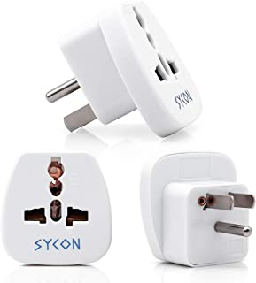 Travel Adapter Plug for USA, Canada, TYPE-B Universal Grounded Plug Adapter Converter, 3 Pack by SYCON