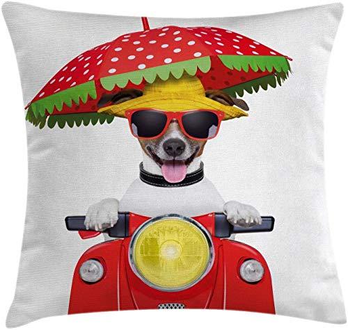 Funda de cojín para perro, con sombrero y gafas de sol, para conducción, motocicleta, cuadrada, para sofá, cama, silla, decoración de sofá, 45,7 x 45,7 cm