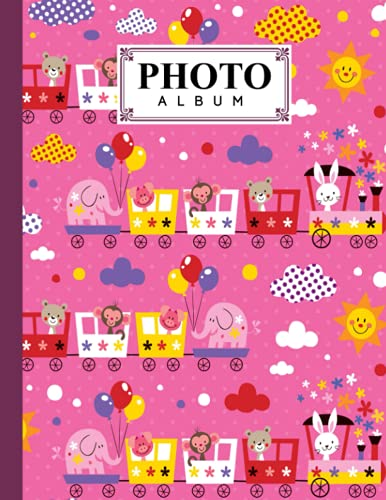 Photo Album: Album, Large Photo Albums with Writing Space Memo, Extra Large Capacity Picture Album, Family, Baby, Wedding, Travel Photo Book, 120 Pages | Train Cover by Mina Krause