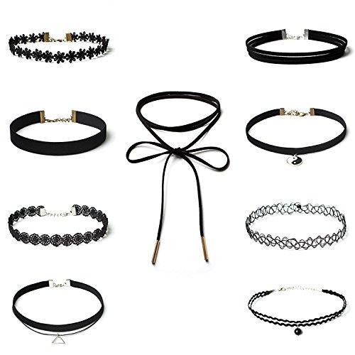 Choker Halsketten Set,9 Stück Strecken Halsband Tattoo Ketten Choker für Teen Mädchen Damen Frauen Velvet Schwarz 28+7CM