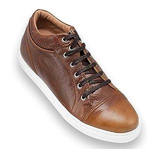 Zapatos de Hombre con Alzas Que Aumentan Altura hasta 7 cm. Fabricados en Piel. Modelo Miami Marron 41