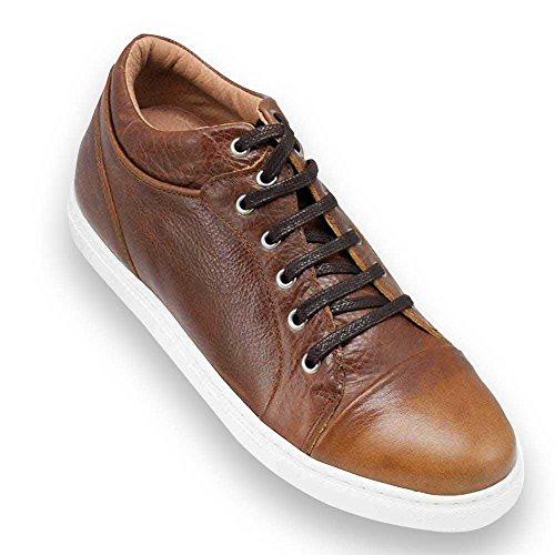 Masaltos Schuhe Herrenschuhe die auf unsichtbare Weise Ihre Körpergrösse bis zu 7 cm erhöhen. Herrenschuhe mit verstecktem Absatz. Modell Miami Braun 43