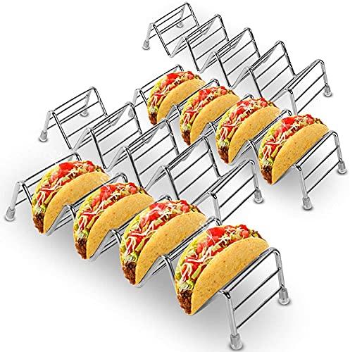 Taco - Juego de 4 Soportes para Tacos, Soporte para Tacos de Acero Inoxidable Premium para Tacos de cáscara Dura o Blanda