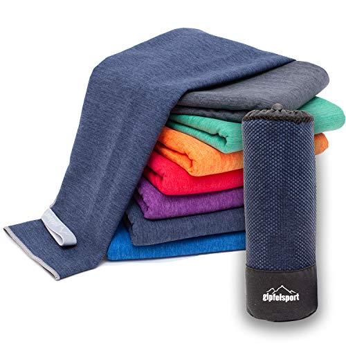 Mikrofaser Handtuch Set 'Brush' - Microfaser Handtücher mit Tasche für Sauna, Fitness, Sport I Set1 1x S(80x40cm) & 1x L(140x70cm) | Navy