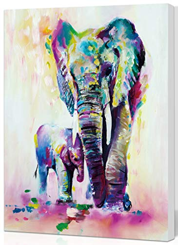 ShuaXin [Wooden Framed Paint by Number Kits,DIY Oil Painting for Adults and Kids Beginner,Colorful Elephants Father-Son Animals 16x20 inch