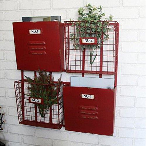 Metall Eisen Zeitschriftenständer Bücherregal Ablagekorb Vintage Industrial Style ( Farbe : Rot ) - 3