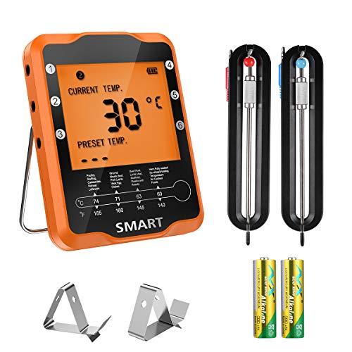 Brifit Draadloze Vleesthermometer, Digitale Voedselthermometer, APP Gestuurde Kookthermometer met 2 Sondes voor Roker Grill Oven BBQ Thuisbrouwen, Ondersteuning voor iOS en Android