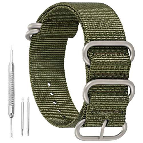 22mm ejército de Gama Alta Estilo Verde Superior de la NATO Nylon balístico Banda de Reloj de reemplazo de la Correa de los Hombres Trenzado