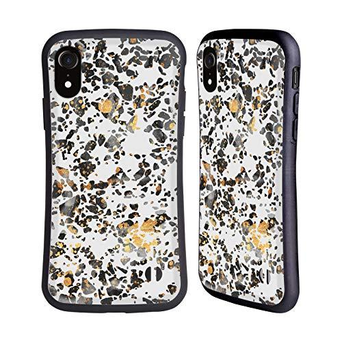 Head Case Designs Oficial Elisabeth Fredriksson Terrazo Moteado Dorado Brillos Carcasa híbrida Compatible con Apple iPhone XR
