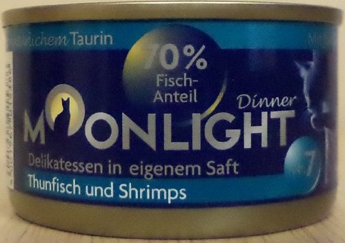 12x80g Moonlight Dinner Katzenfutter Dosen Nassfutter (Nr.7 Thunfisch Shrimps)