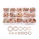 Set di rondelle di rame piatto, 280 pezzi 12 dimensioni Set di assortimenti di rondelle metriche in rame - Kit assortimento di anelli di tenuta piatta